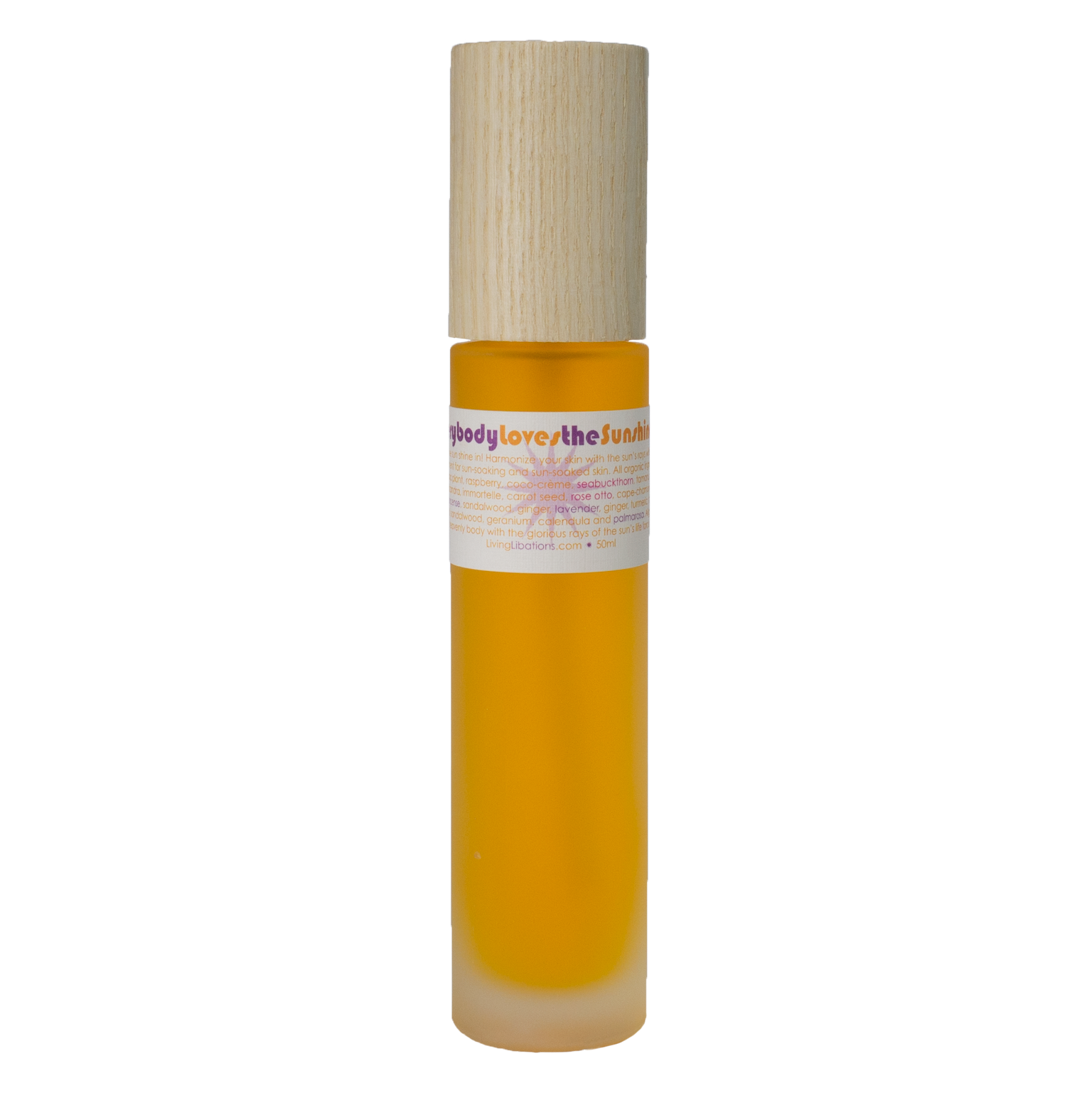 "Living Libations ""Everybody Loves The Sunshine"" Tanning Oil, filled with botanical extracts made for sun use."