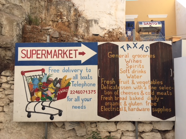 Taxas market in the back roads of the Symi harbour