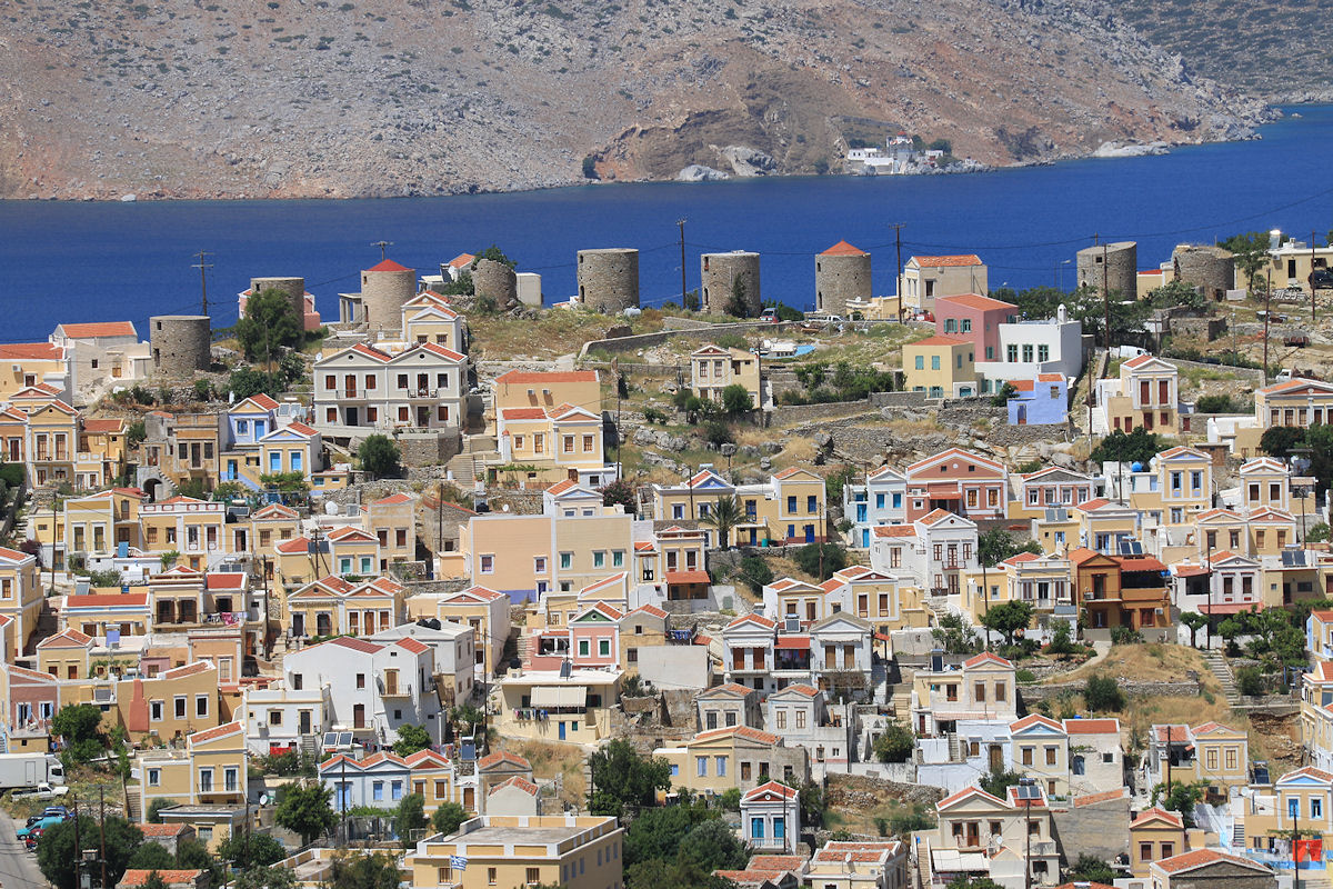 Views of Symi windmills from Old Chorio.