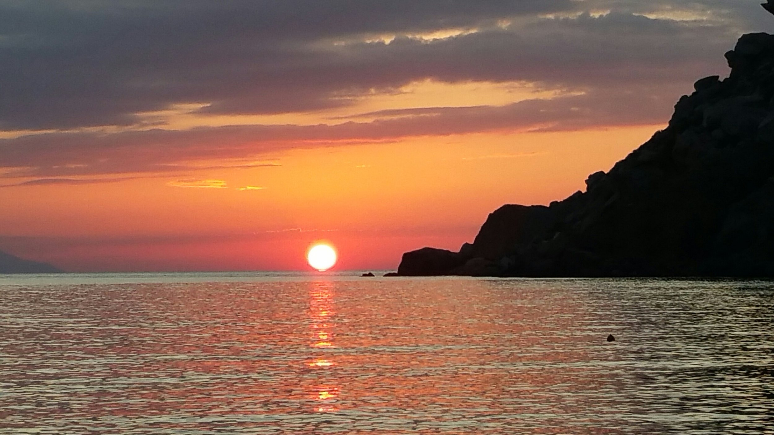 Toli sunset (the only place on the island to see the sun set over the water).