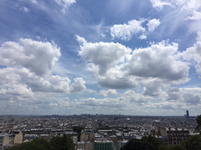 Views of Paris from the front of Basilique Sacrée Coeur, in Montmartre.