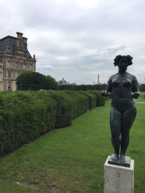 Gorgeous sculptures in the Tuileries gardens, on the way to the Louvre (with the Eiffel Tower in the background).