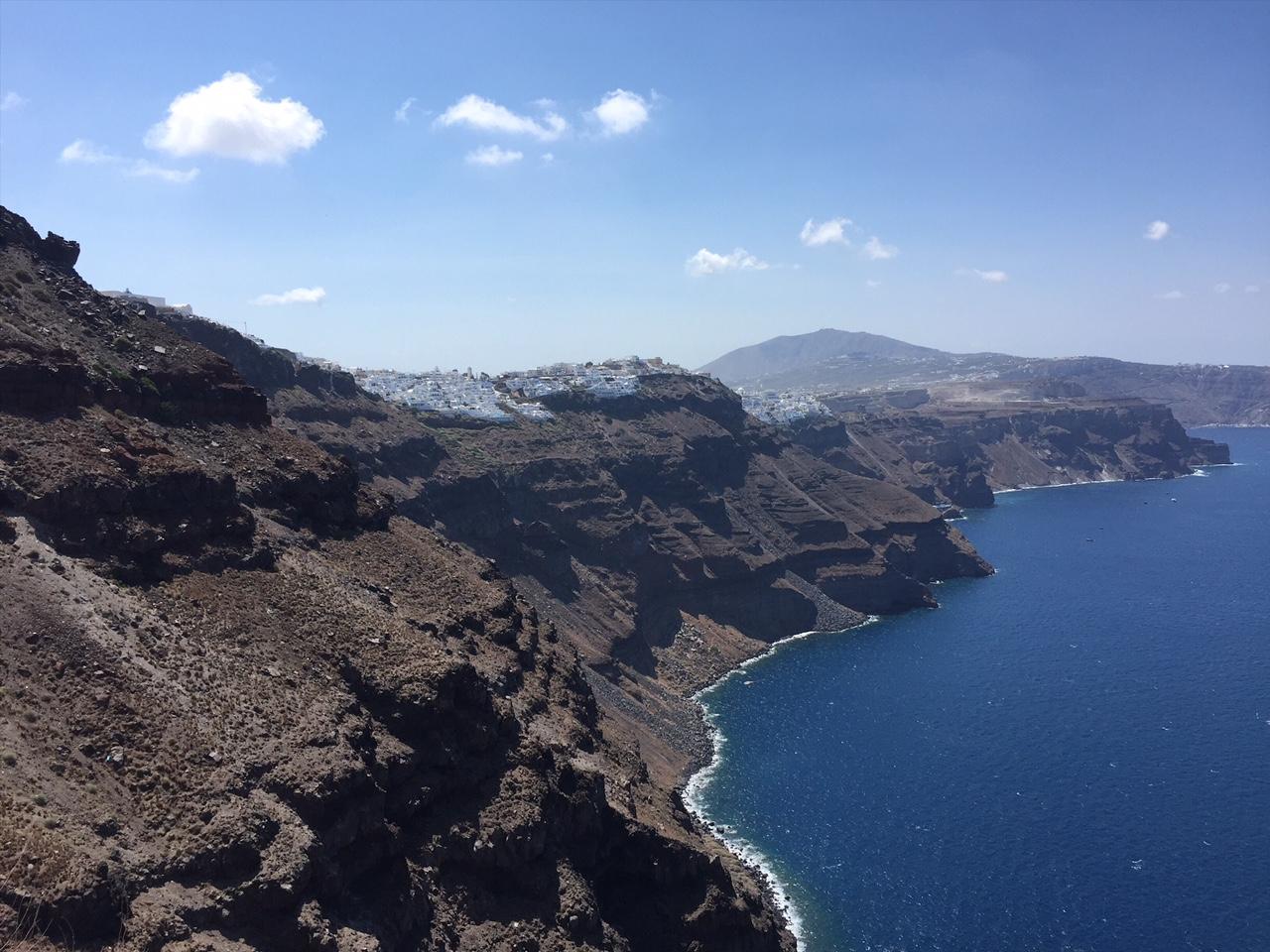 Hiking in Santorini from Fira to Oia, Greece.