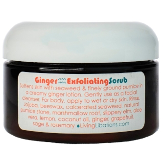 This ginger scrubbing verve will have your skin sing as it softens and tones with soothing seaweed and very finely ground pumice blended into a creamy, ginger-grapefruit lotion. Infused with the moisturizing moxie of marshmallow root and wholesome jojoba, our  Ginger Exfoliating Scrub  is instilled with vivacious ingredients that will make your skin feel awake and cheerful.