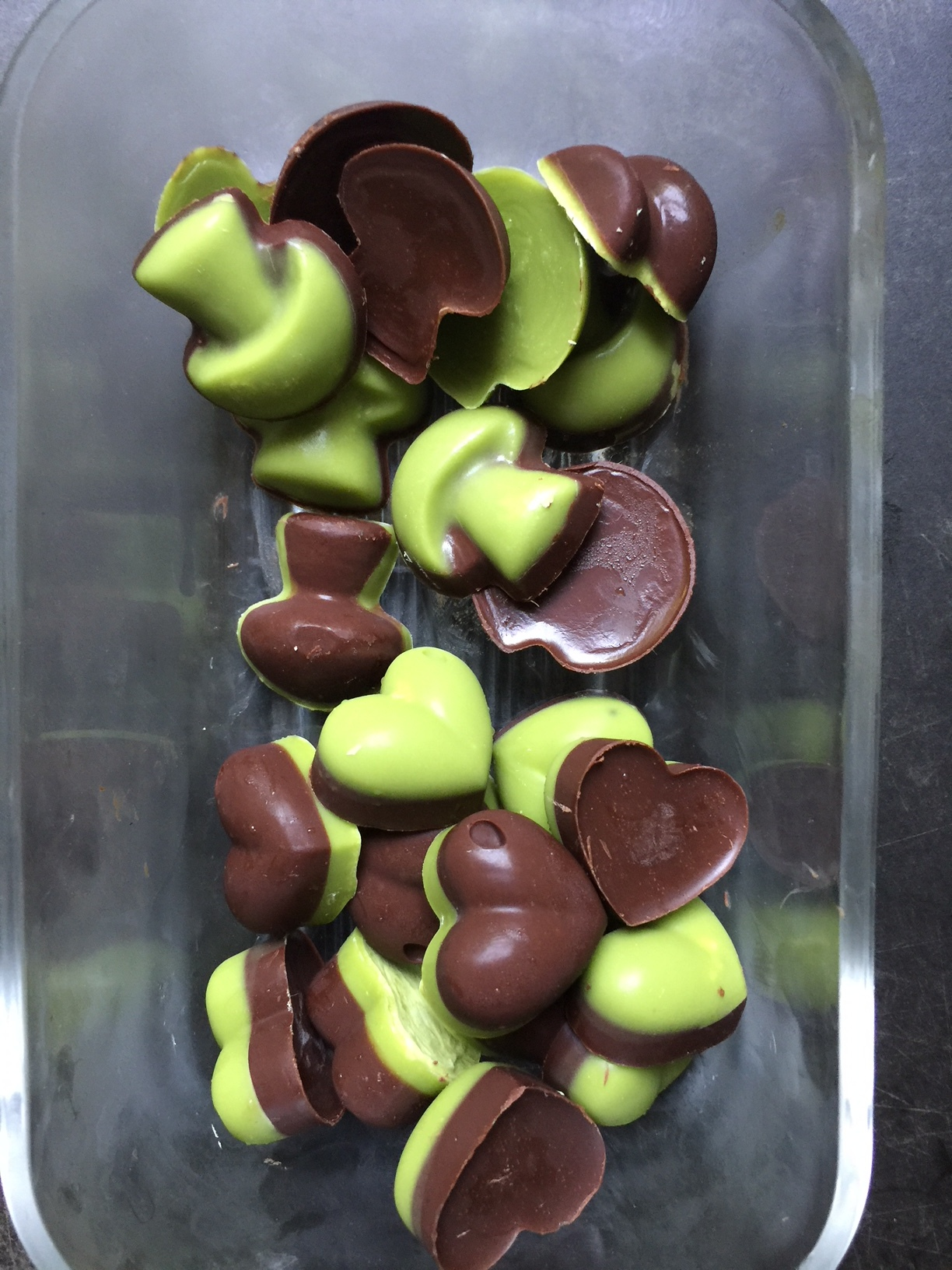 Store your chocolates in a glass jar in the freezer!