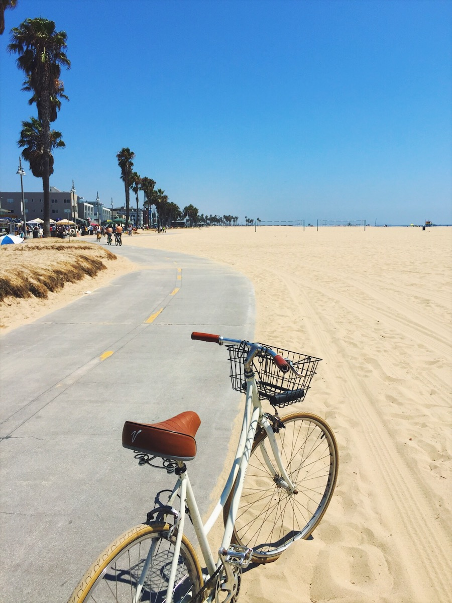 Riding along the boardwalk from Santa Monica to Venice Beach.