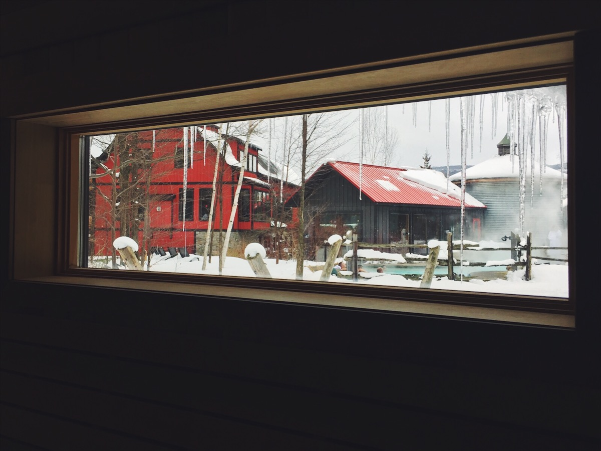 Views from inside the infrared sauna at  Scandinave Spa , in Collingwood, Canada.