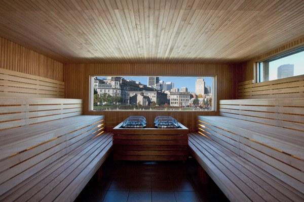 Traditional sauna inside the  Bota Bota sp a, in Montréal, Quebec.