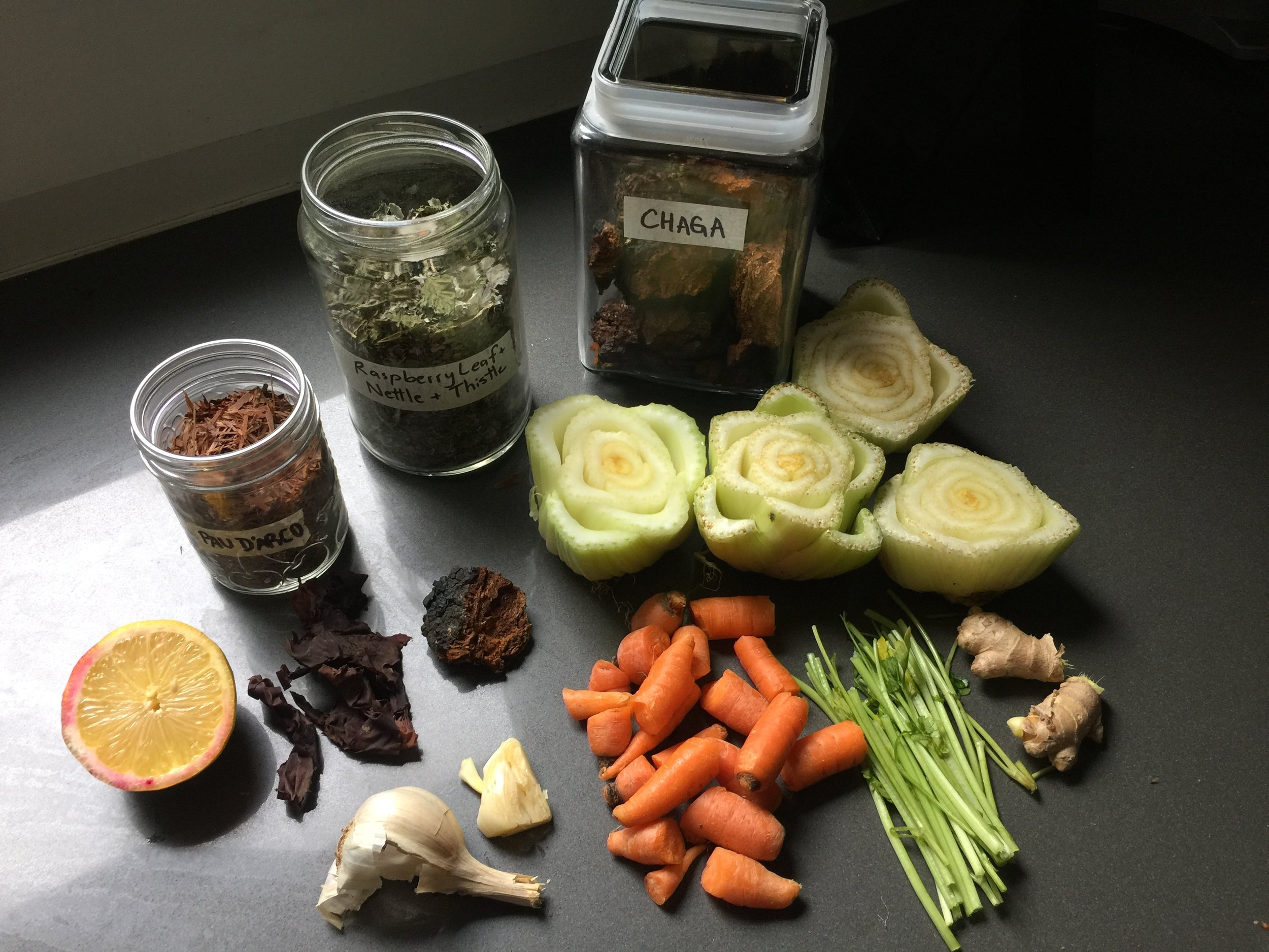 Hot tip: instead of using whole carrots and celery, opt to save the bits you don't eat (store in the freezer)…. zero waste!