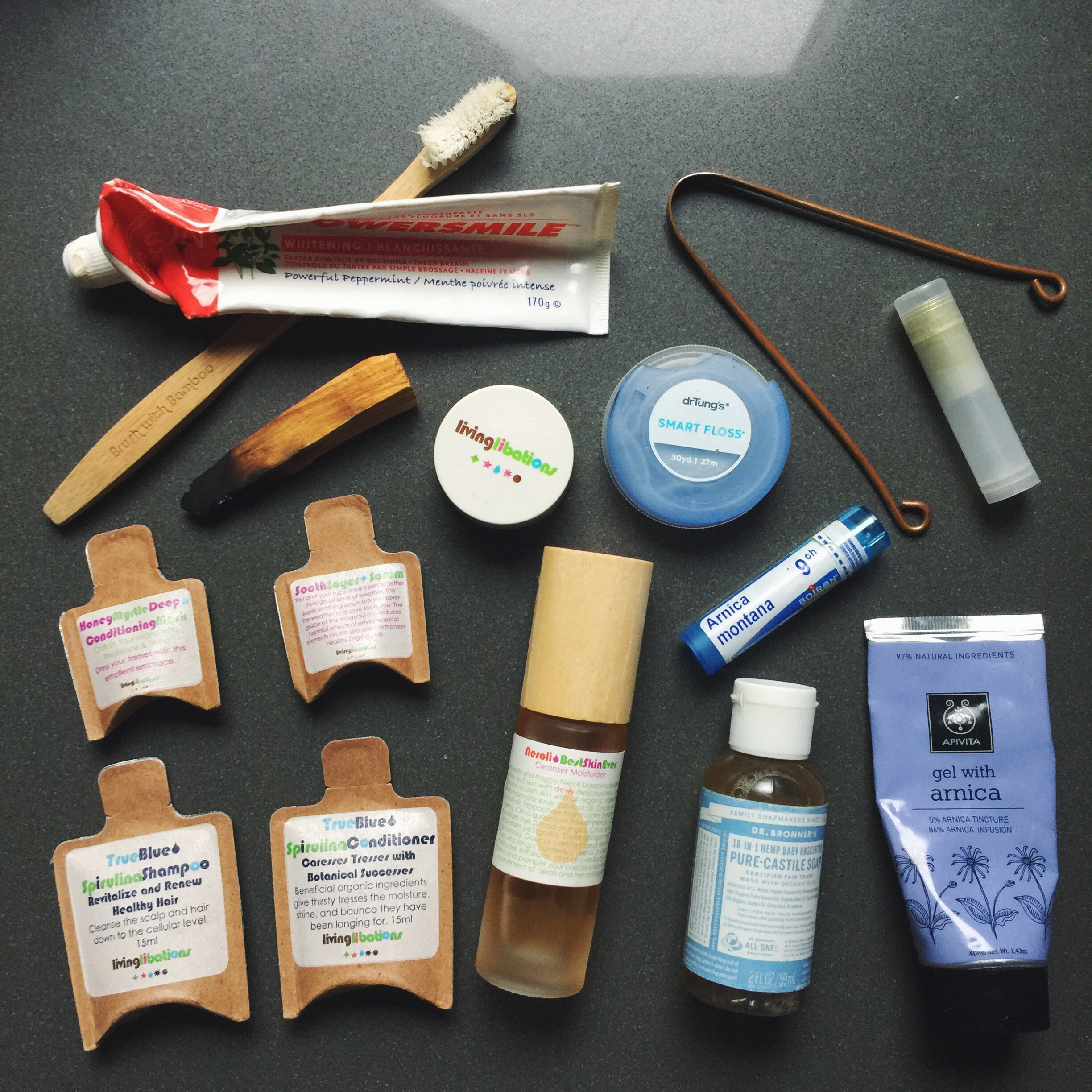 Despite the long list, my toiletries are very compact and barely take up any space in my bag. They're all under 100ml and easily fit in the 1L bag airline limit. Getting small travel-sized natural beauty products by Living Libations is the ideal way to travel!