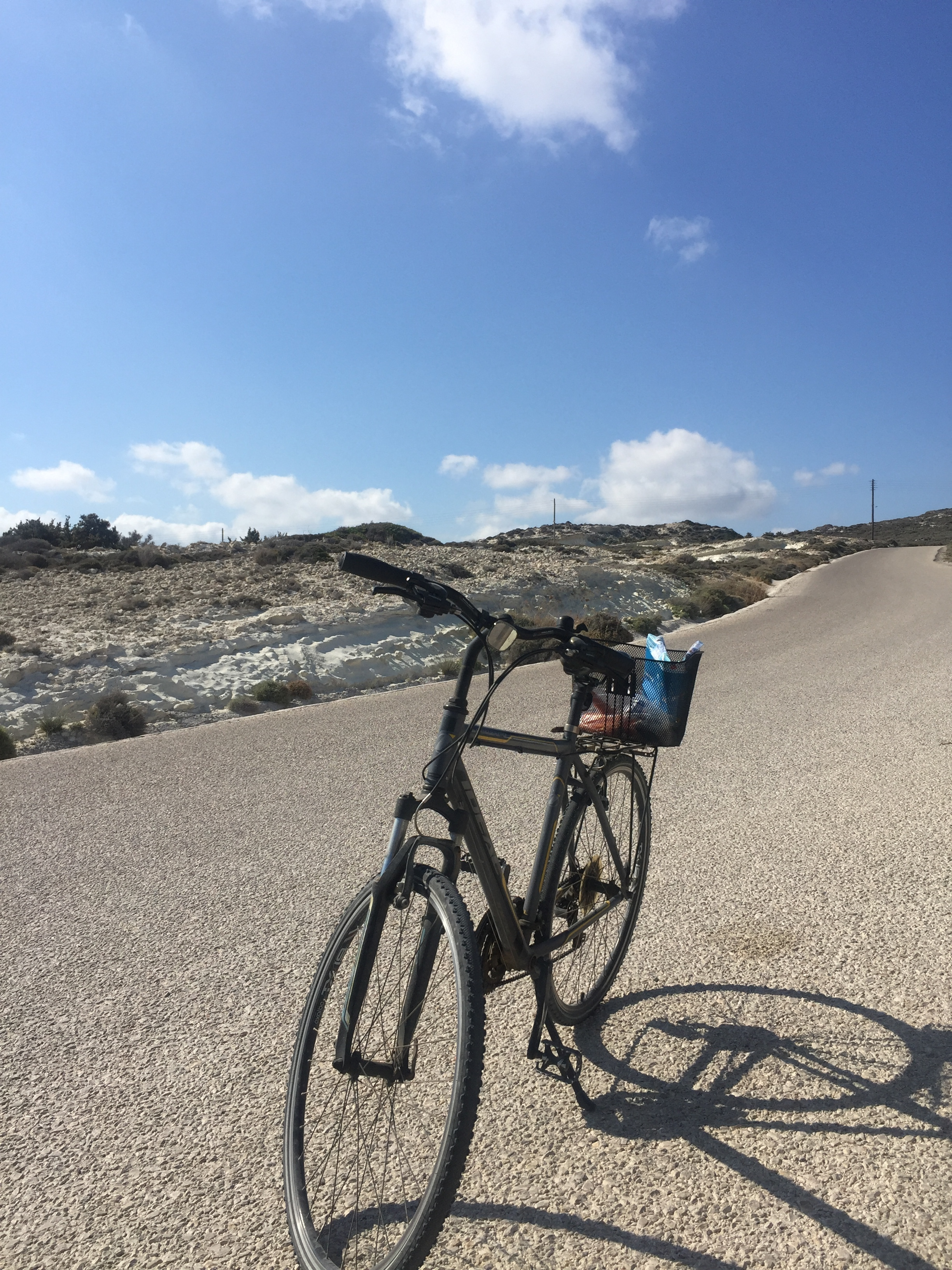 No matter where I travel to, renting a bicycle is always at the top of my to-do list. This is cycling from Adamantos to Sarakiniko, in the Greek island of Milos.