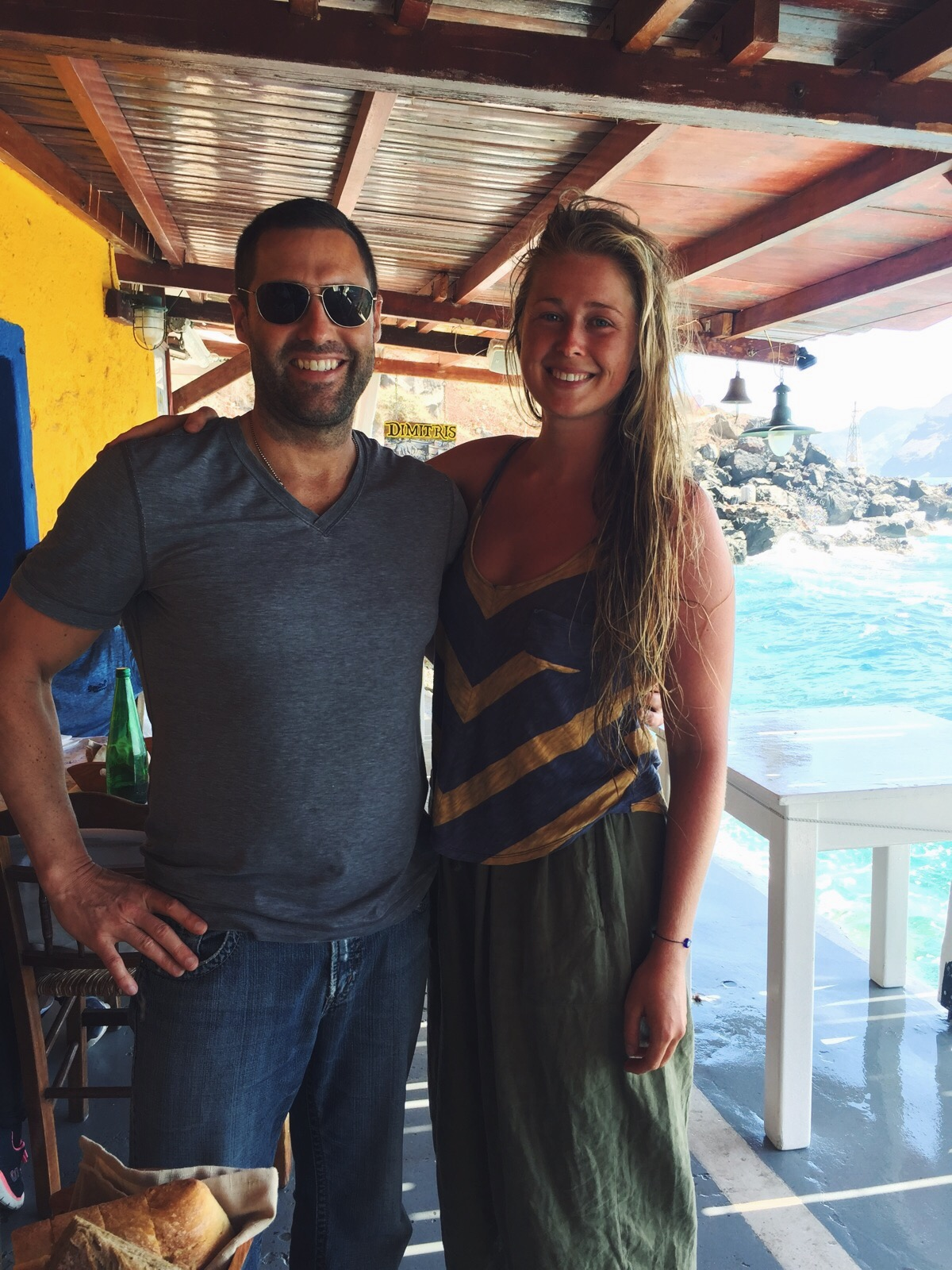 Bumping into  Jason Christoff,  on a tiny off-the-beaten path in Santorini, Greece!