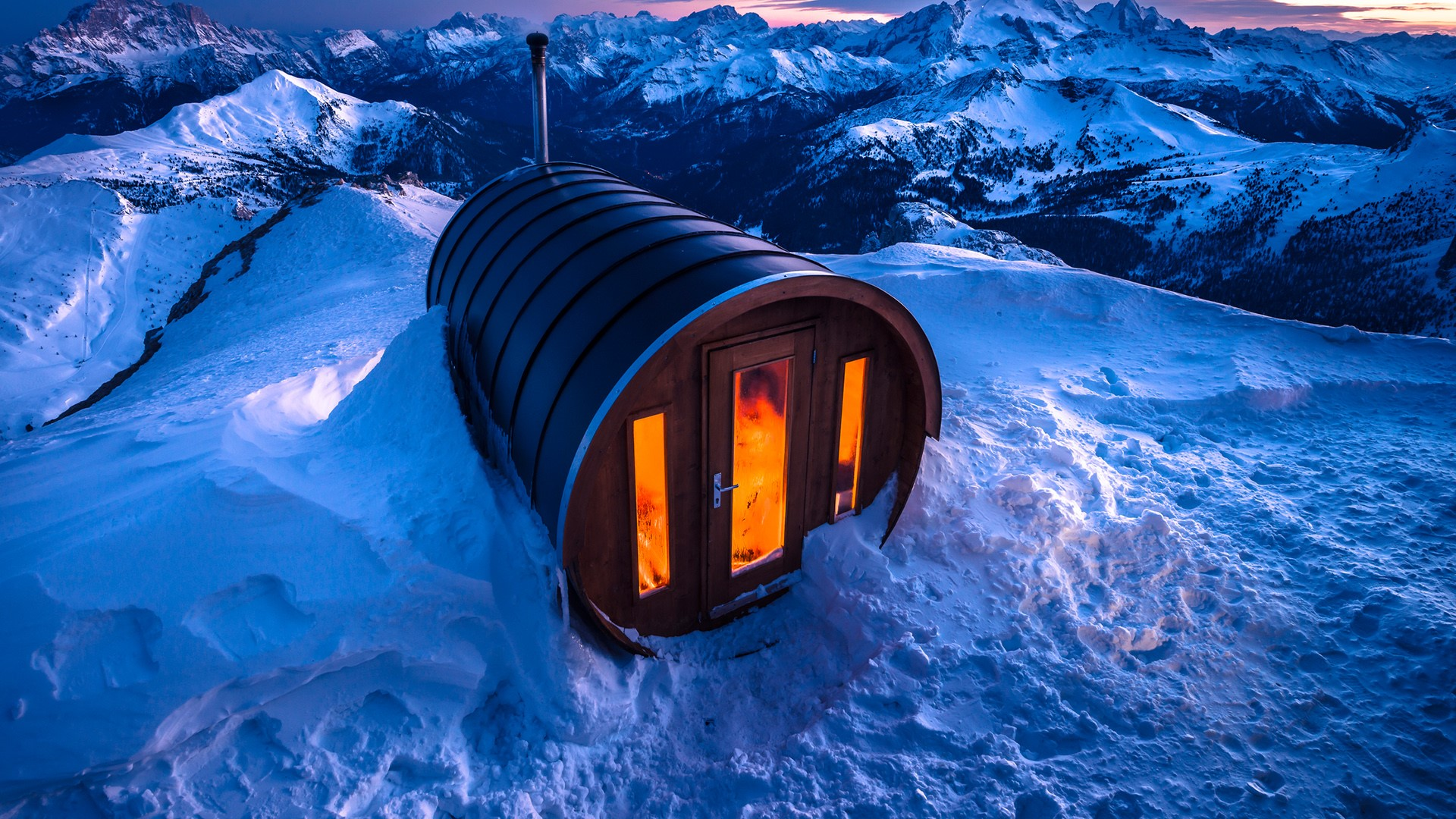 Sauna in Lagazuoi, Dolomites, South Tyrol, Italy.