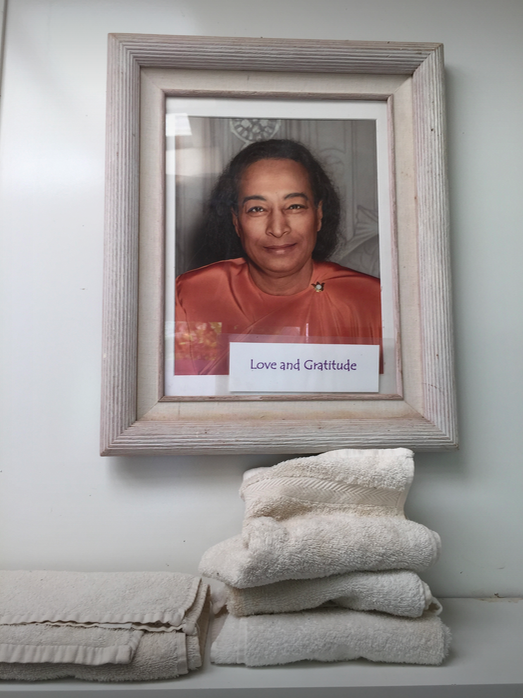 Photos of Yogananda and Jesus were all over the place. This one of Yogananda stared into my soul every time I took a pee (it was across from the toilet, in the bathroom).