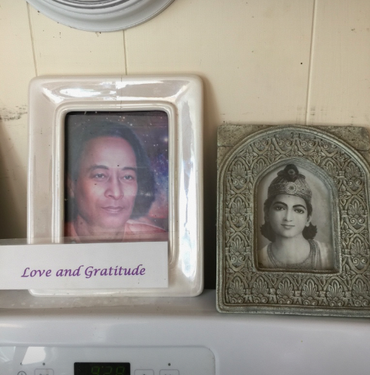 More pictures of Yogananda and Krishna on the stove top.