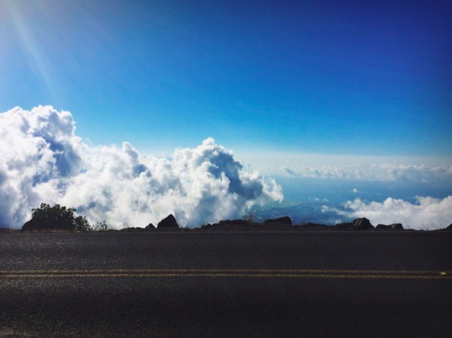 Driving above the clouds, to the top of Haleakala volcano.
