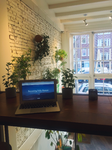 Working from my laptop in a cafê in Amsterdam.