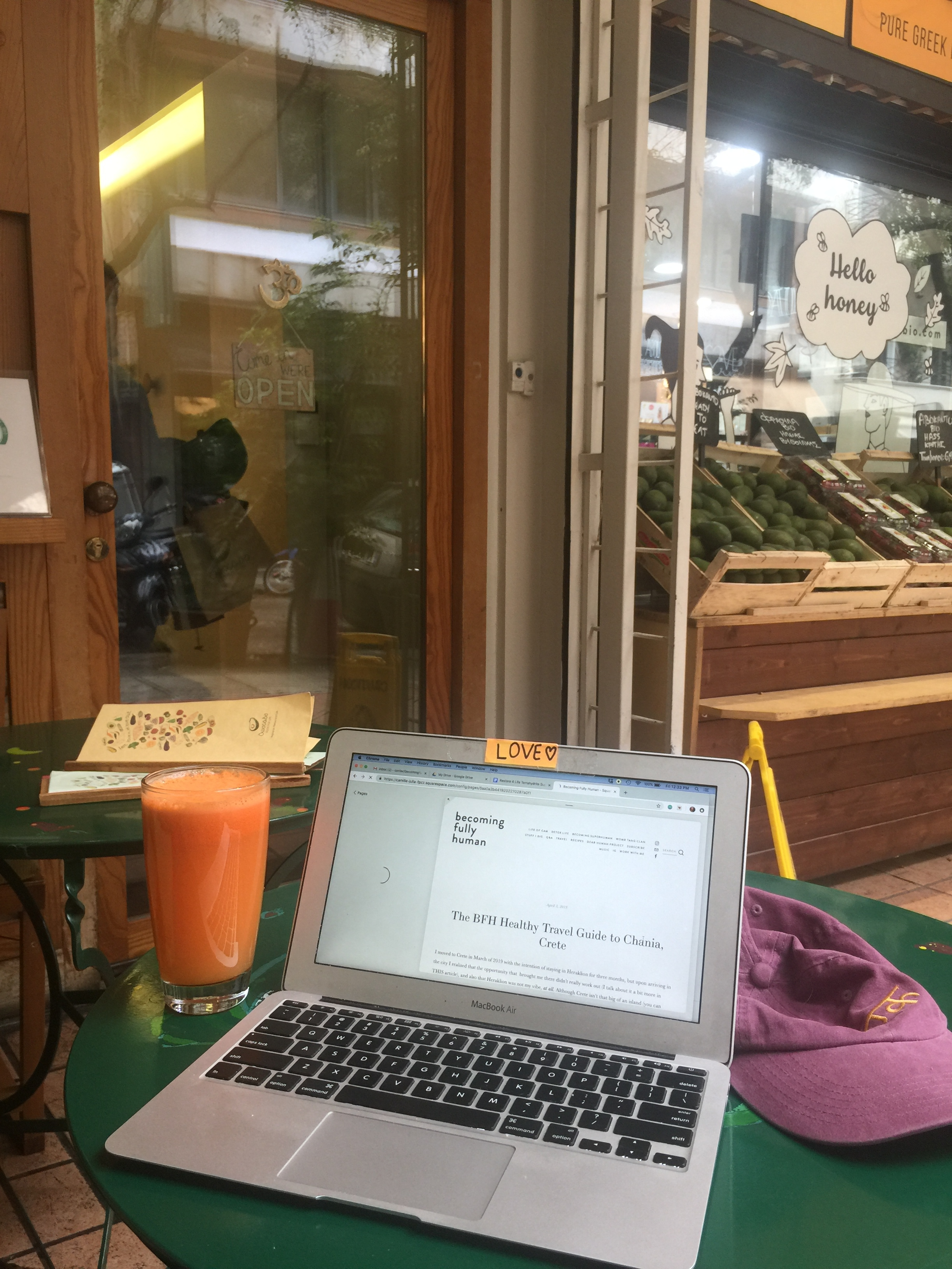 Working on this article! From an organic café in Athens, Greece (with a big glass or carrot, ginger, lemon juice).