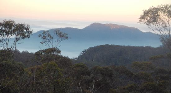 Views of the Blue Mountains, from the dining hall at Dhamma Bhumi centre in NSW, Australia.