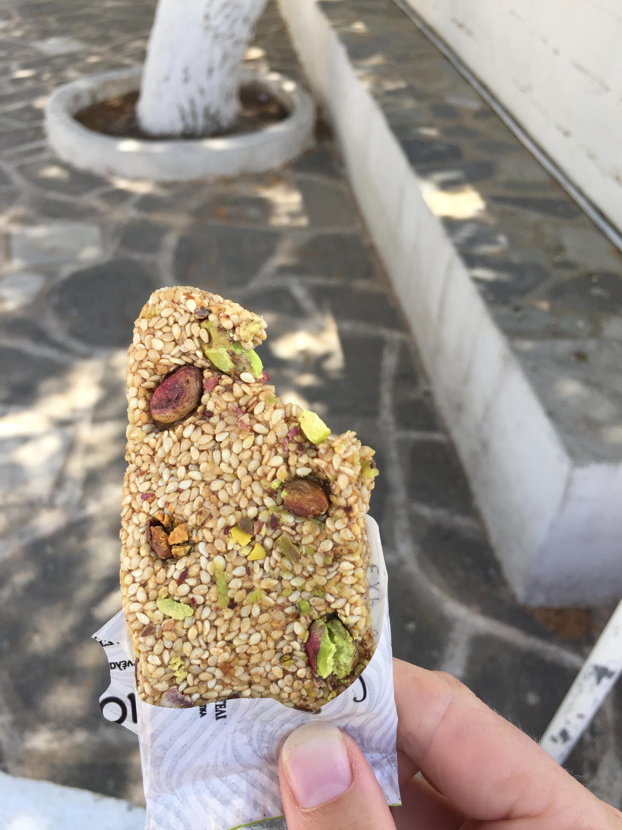 Honey, sesame, and pistachio bars from the little mini mark, in Prodromos.