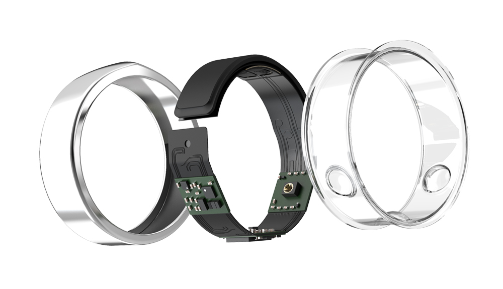 In the picture above you can see the main parts of your new Oura ring:  A: The outer shell: made out of titanium with diamond-like coating (DLC);  B: The electronics: including processor, battery, memory, sensors;  C: The inner molding: non-allergenic, seamless and medical-grade.   Image:    Oura   .