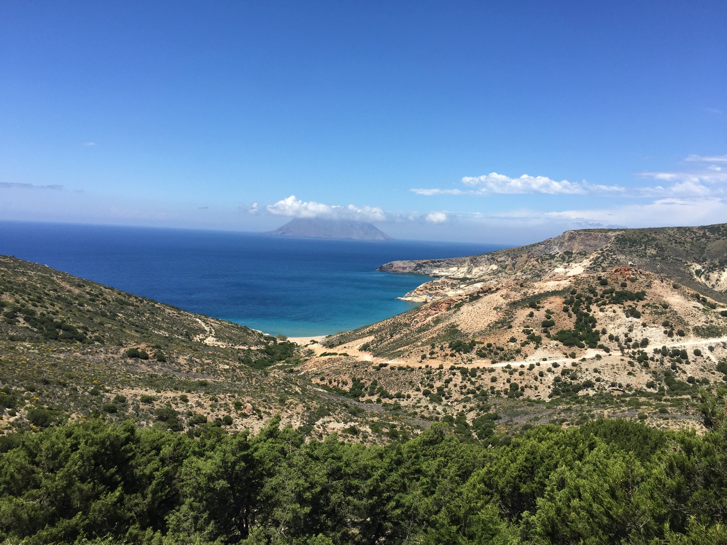 Views from the 'off grid' south west side of Milos: great for some peaceful hiking.