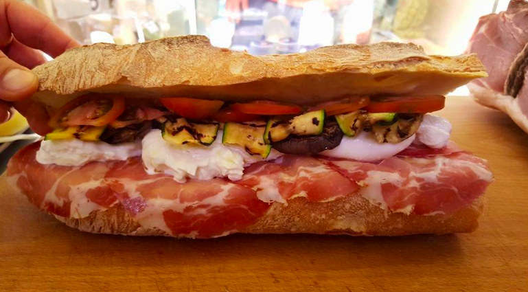 Sandwich made at  La Salumeria di Raffaele Lapesara , where you can either get ingredients separately (delicatessen style) or get it made up for you.