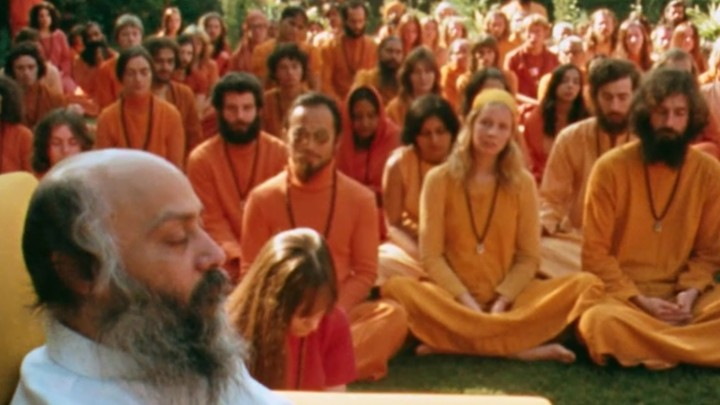 Snapshot from Netflix's Osho documentary series: Wild Wild Country.