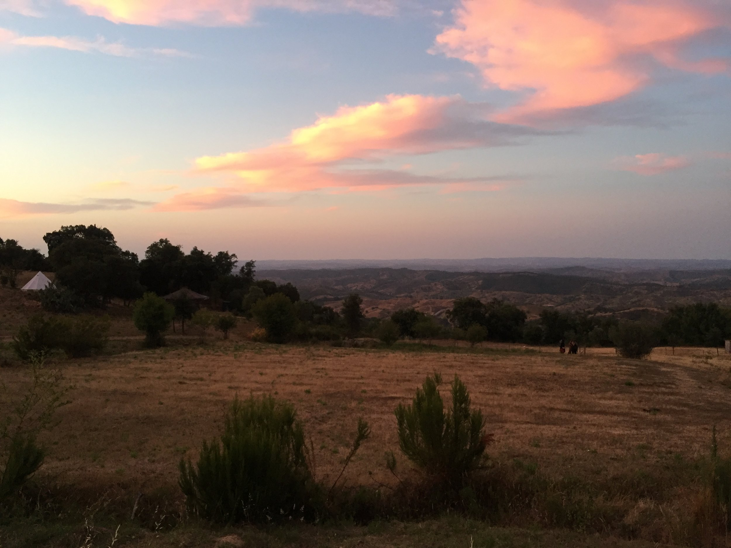 Cotton candy sky setting over the hills of Southern Alentejo.