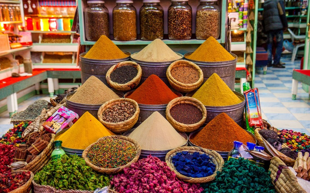 Spices at Marché des Épice, in Marrakech.