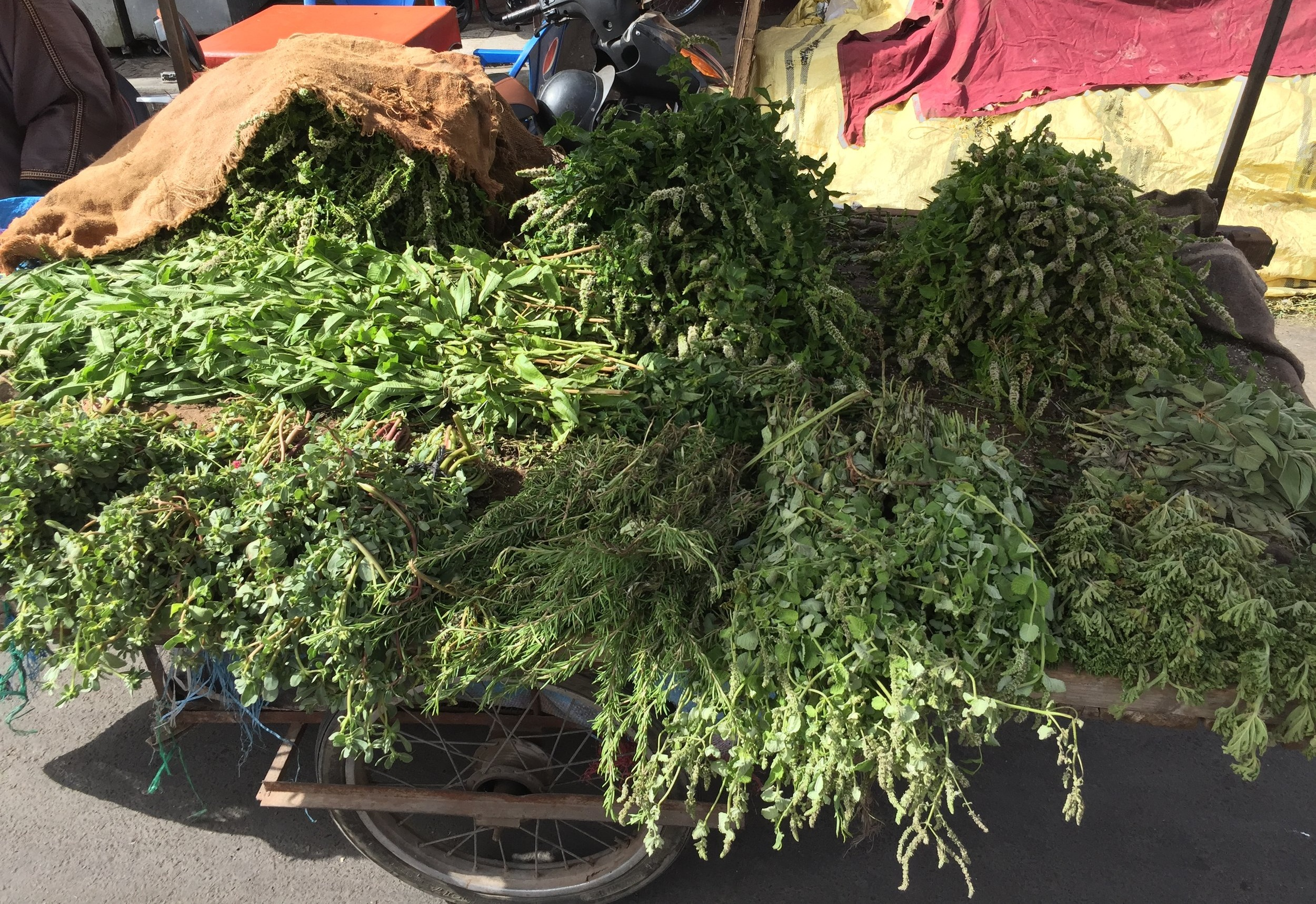 Trolly of fresh herbs in Marrakech.
