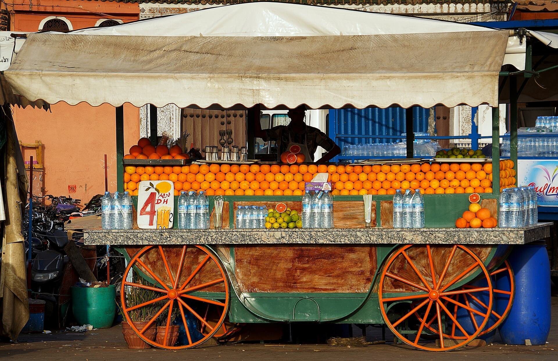 Orange juice stall in Jemaa el-Fna square, Marrakech