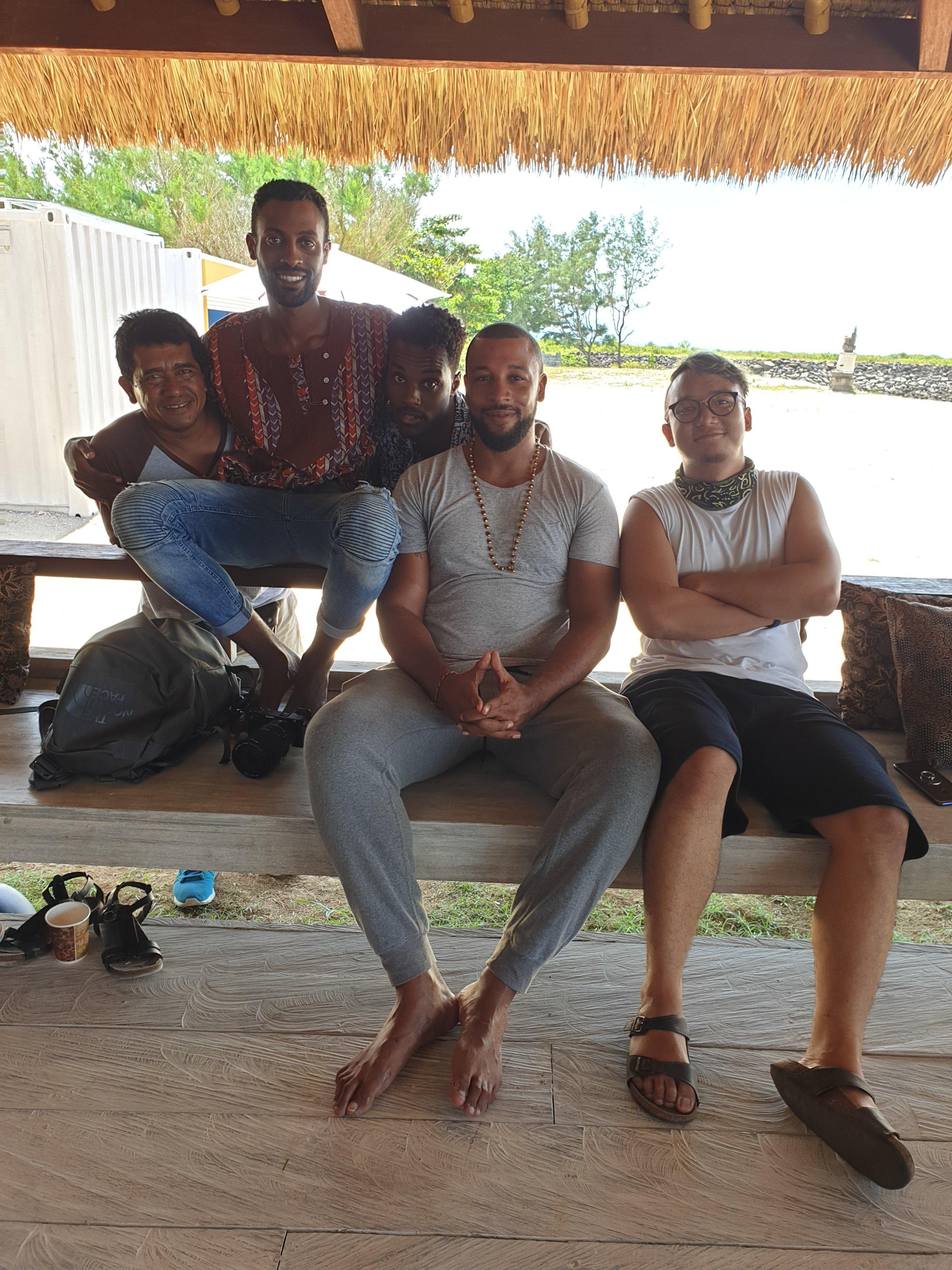 From left: Made, Driver & friend (Bali) - Joseph, Videographer - Gaylord, Usher - Dominique, Rapper & Poet - Aditya, Kura Kura Bali team