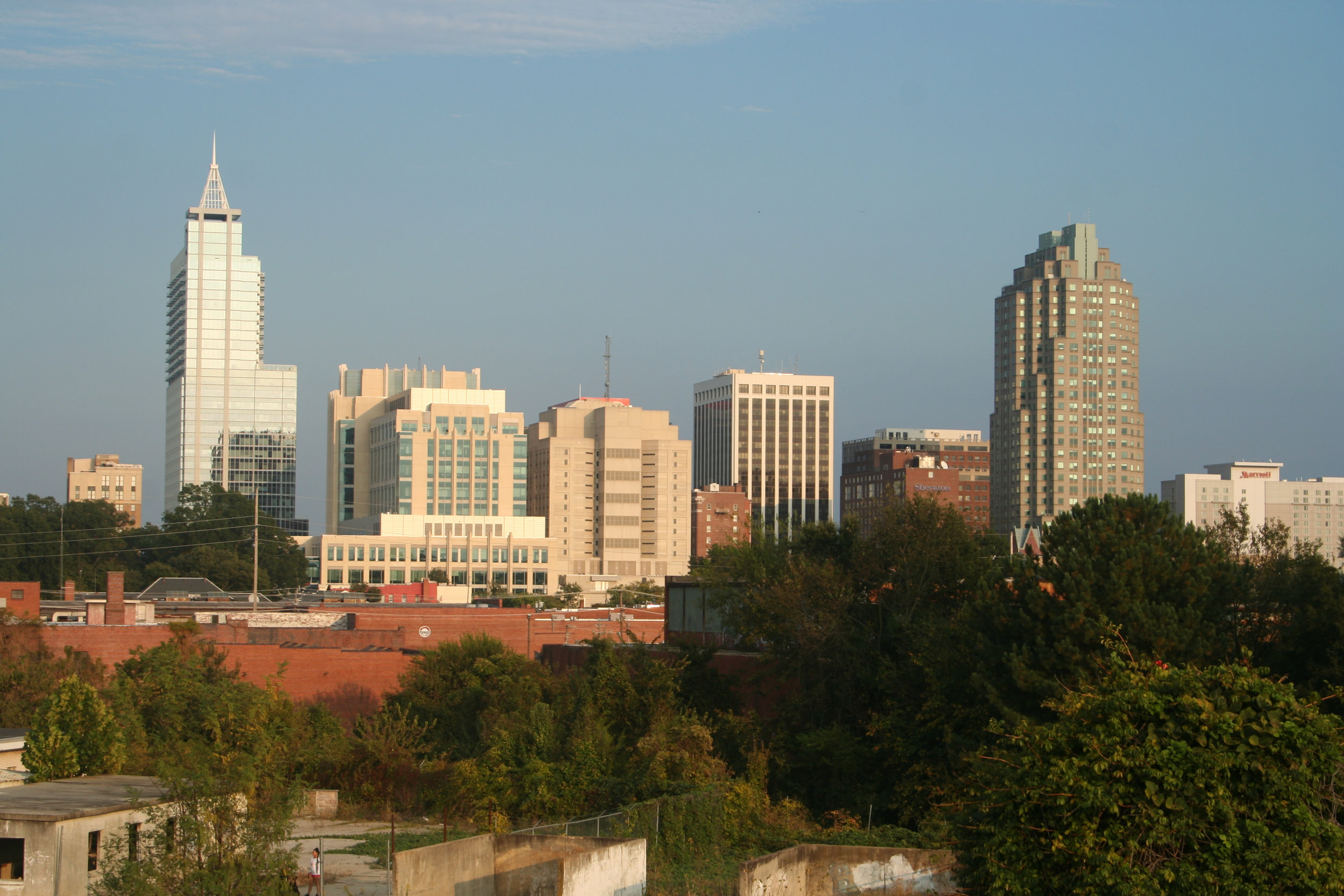 The Raleigh, NC, USA skyline: The largely suburban development pattern of Raleigh creates a thermal mosaic (see below), providing a built-in study system in which trees that are close together (<200 m) experience different thermal conditions.