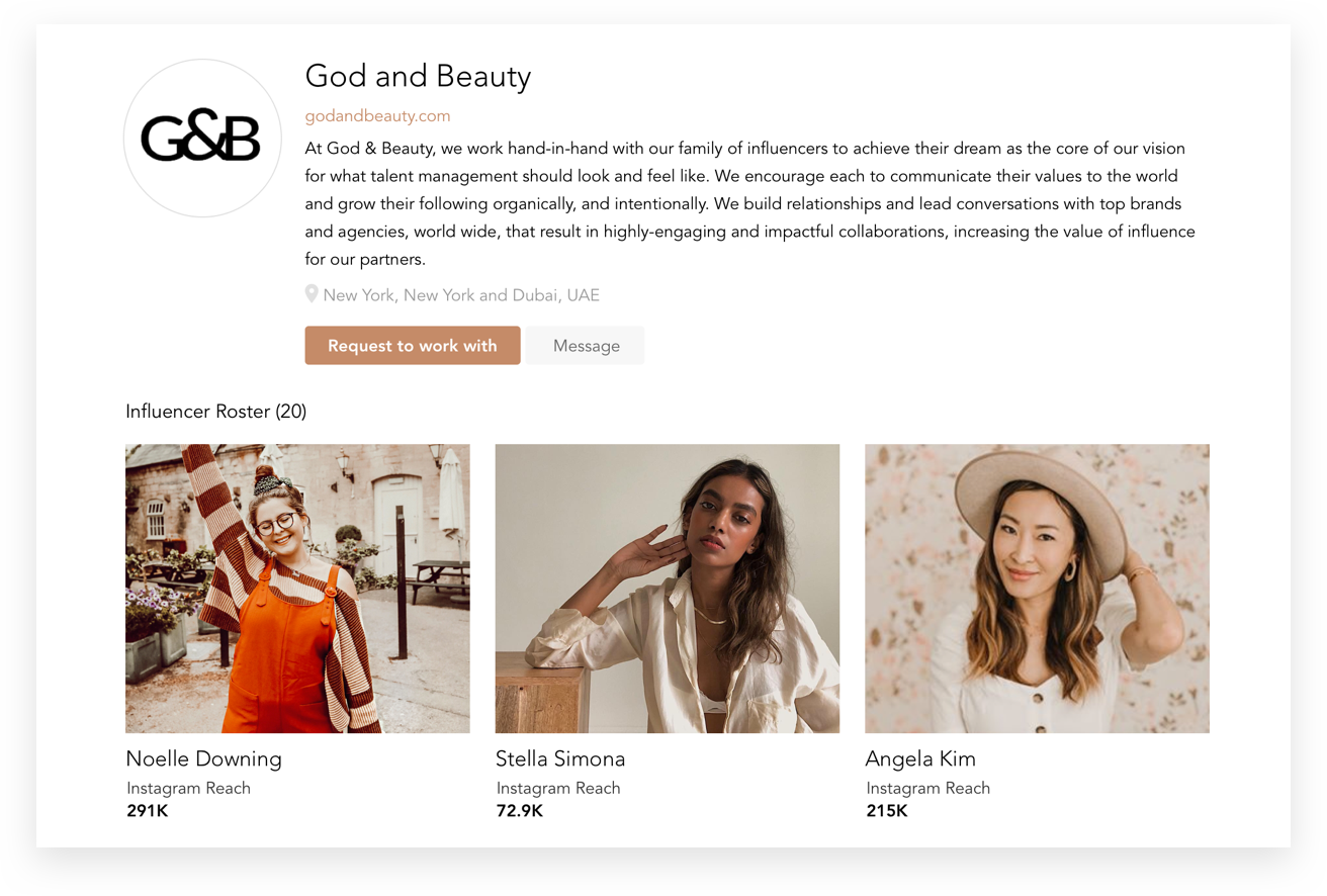 Talent Manager Approved - Our Talent Manager tool enables reps to track, manage and monetize their rosters.Our technology supports the full campaign life cycle with partnerships ranging across categories like Fashion, Beauty, CPG, Travel, Healthcare and beyond.