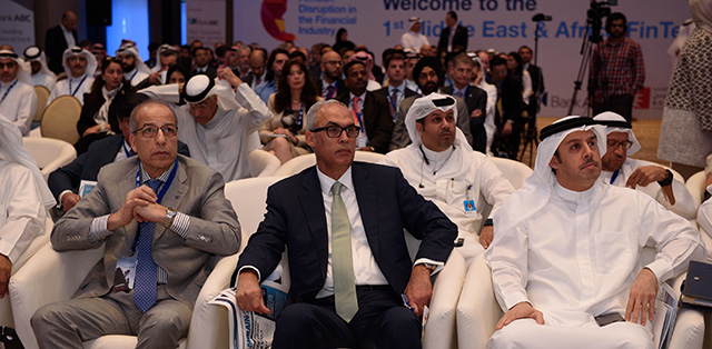First FinTech Conference in Bahrain, March 2017. Front row, left to right: Saddek Omar Elkaber, governor, Central Bank of Libya; Rasheed Al Maraj, governor, Central Bank of Bahrain; and Khalid Al Rumaihi, CEO, Economic Development Board of Bahrain.