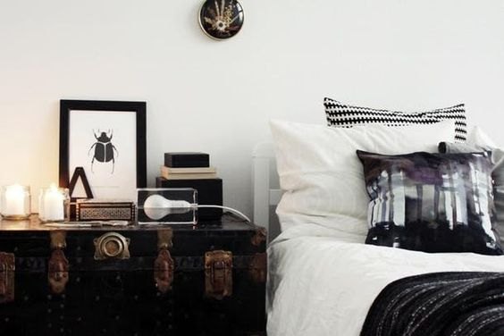 VINTAGE TRUNK - Trunks of any kind have an old-world vibe, with plenty of surface area for all your bedside necessities.