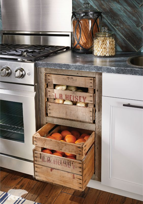 Built-Ins - Turning vintage crates into drawers is a genius idea, but if that seems a bit overwhelming, try adding vintage wooden shelves or an old Hoosier Cabinet to warm things up!The possibilities here really are endless!