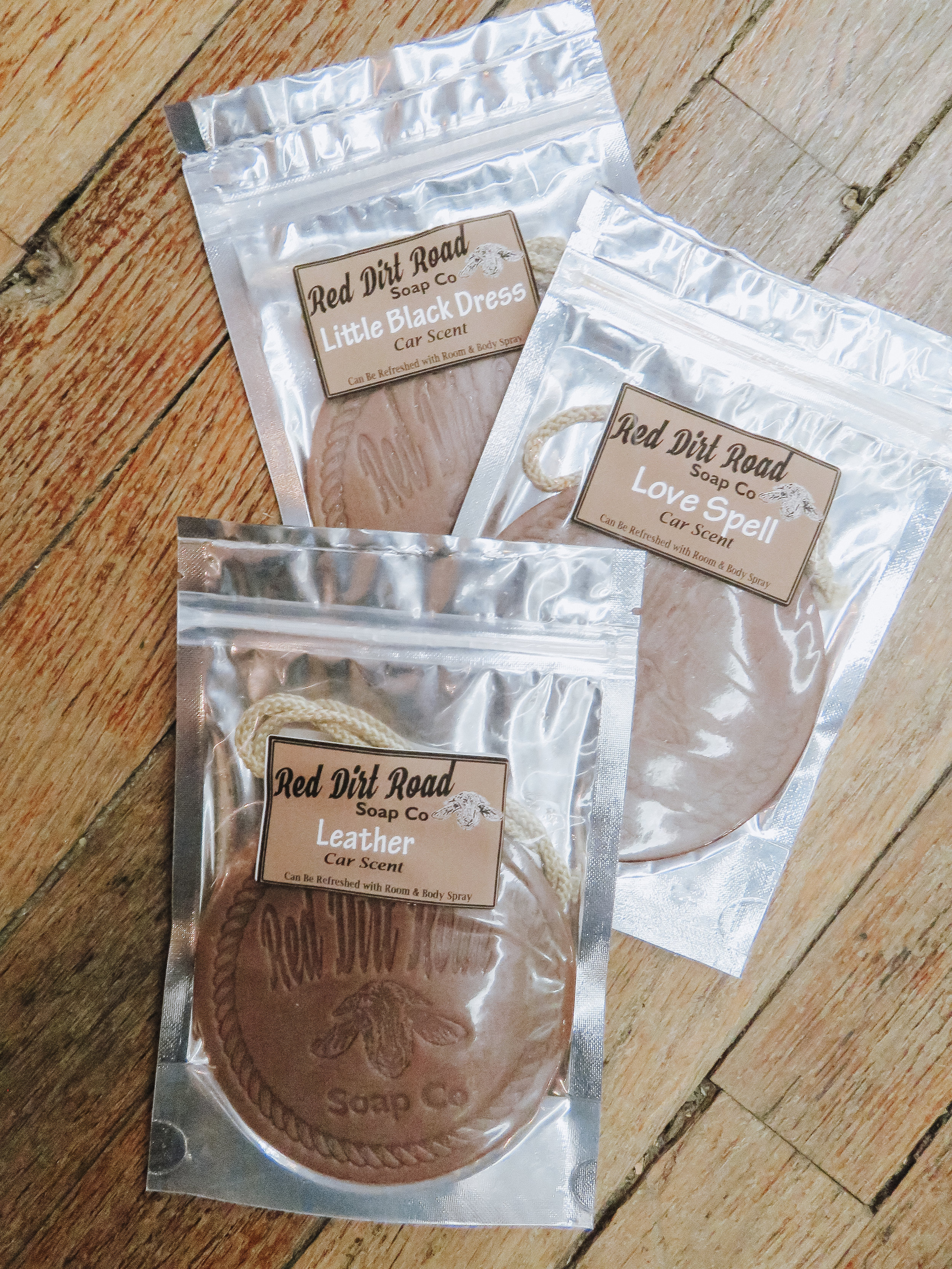 Car Scents - Red Dirt Road Soap Co. carries more than just soap! These car scents come in a variety of scents.
