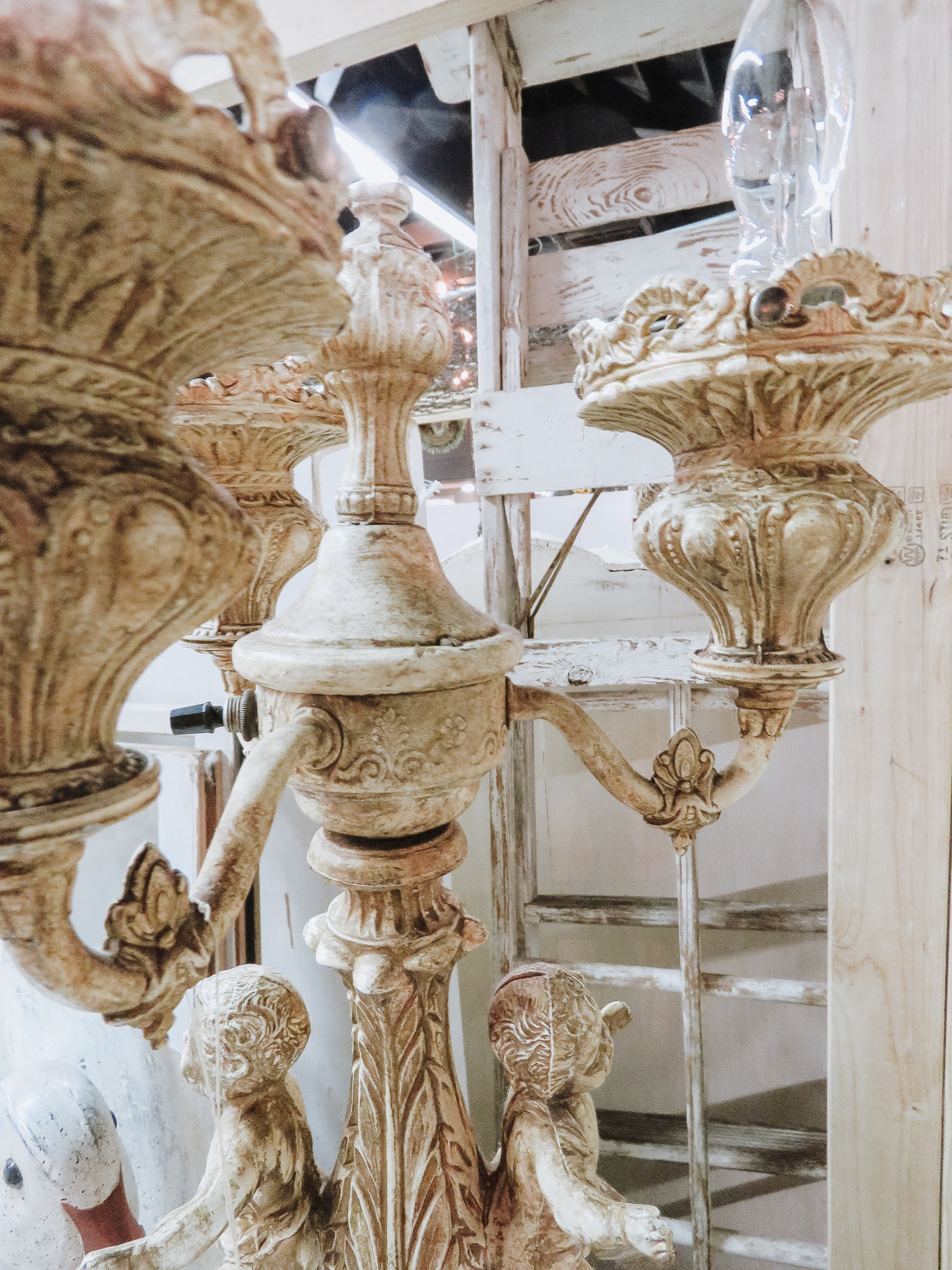 Candelabra - Vintage lighted candelabras will give you more lighting than your traditional lamp, and they come in a wide variety of shapes and sizes.