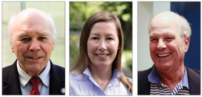 Bruce Siska, left, Rose Brown, center, and Tiger Graham, right, are all running for East Hampton Village Board.   David E. Rattray, Durell Godfrey, and Courtesy Photos