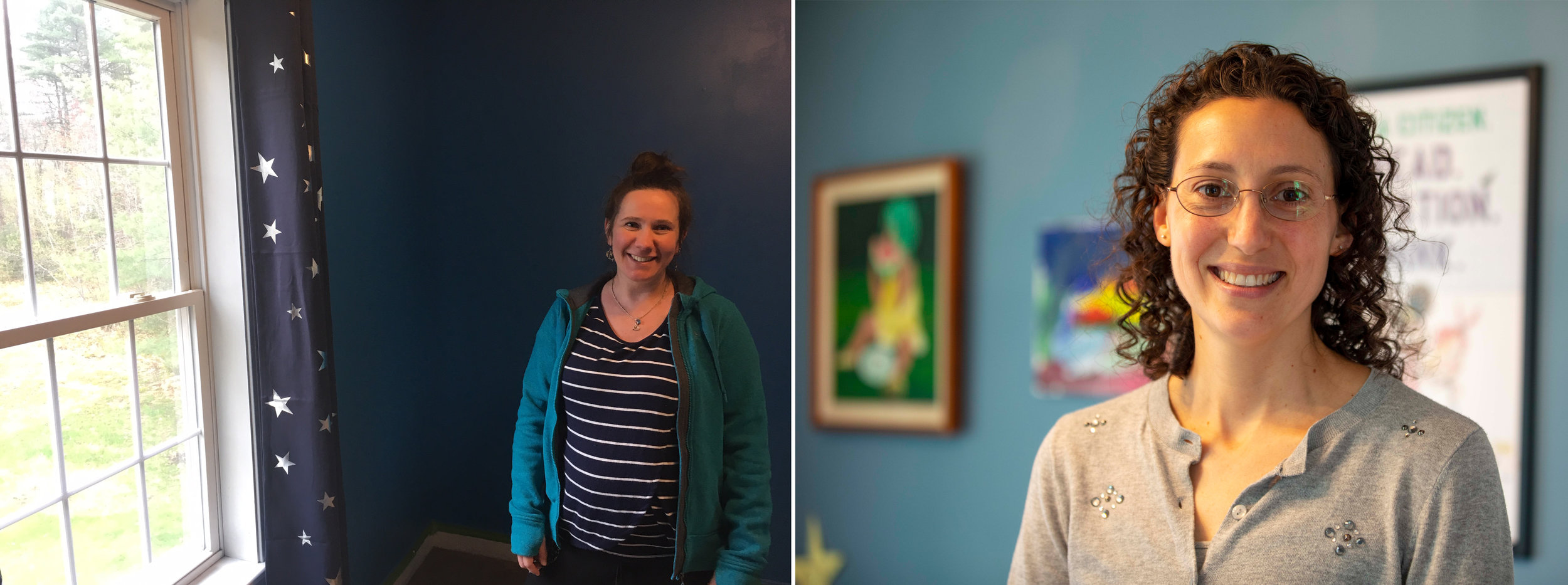 Sophia Cunningham (left), in her baby's room, and Tara Williams (right) of the Maine Association for the Education of Young Children. (Maine Public photos by Patty Wight and Rebecca Conley)