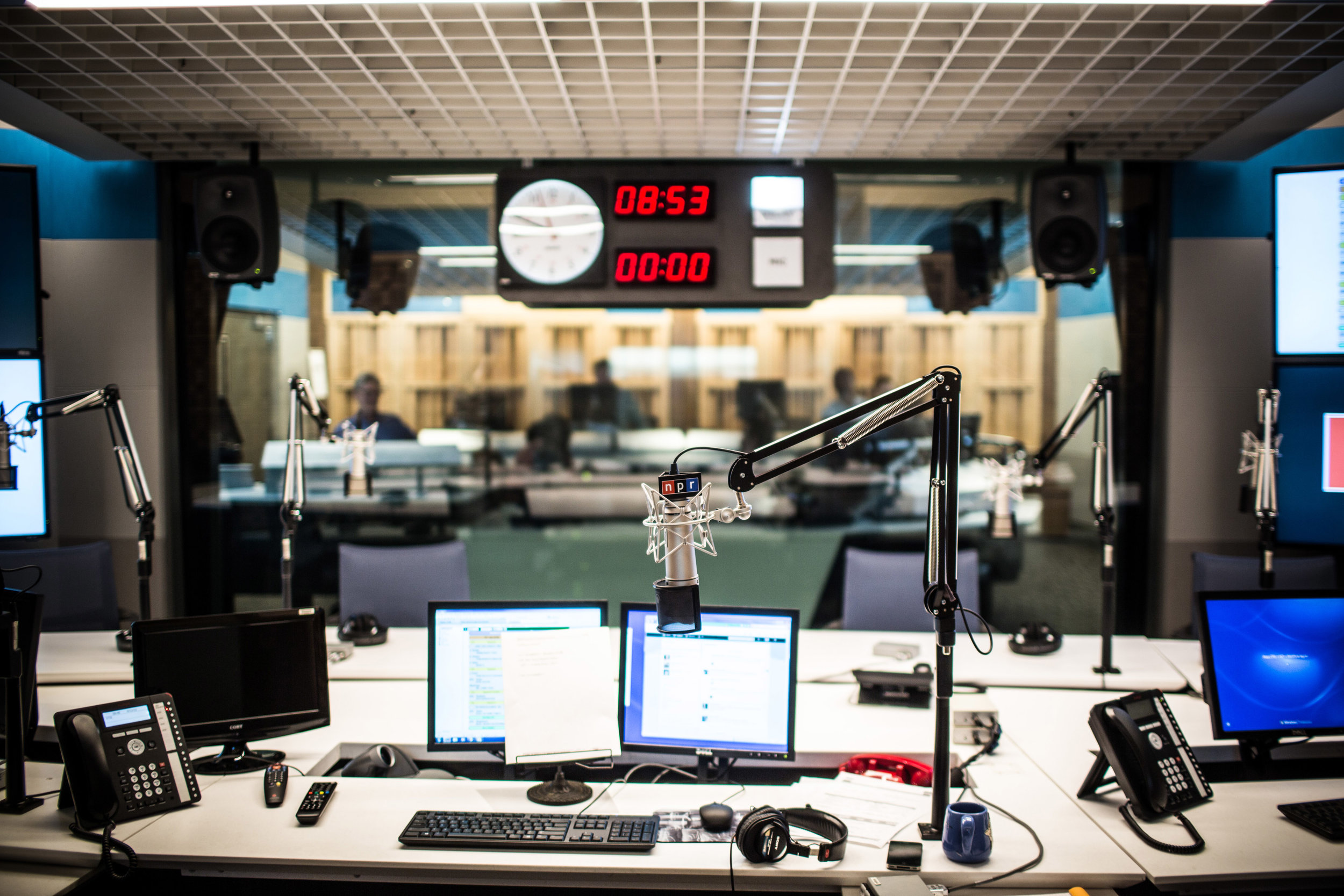 NPR studio: The view from the host's chair.