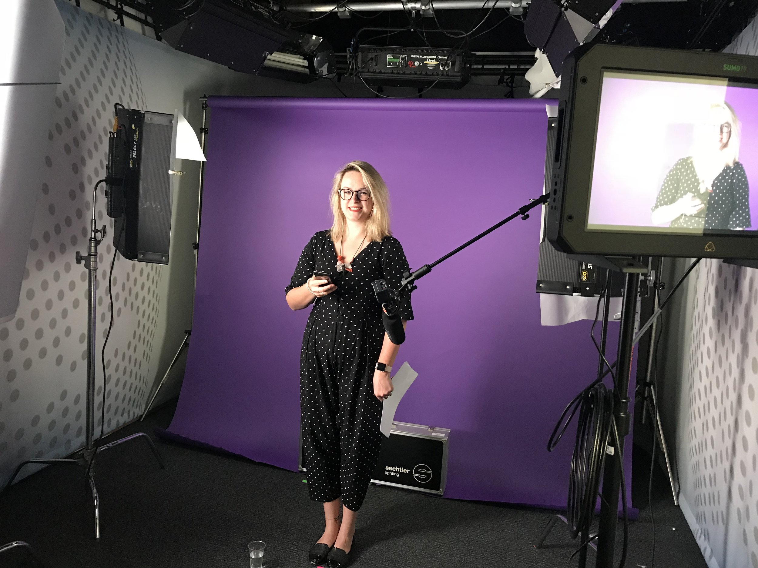 Behind the scenes: Kat Sutton in the filming studio for our launch video below