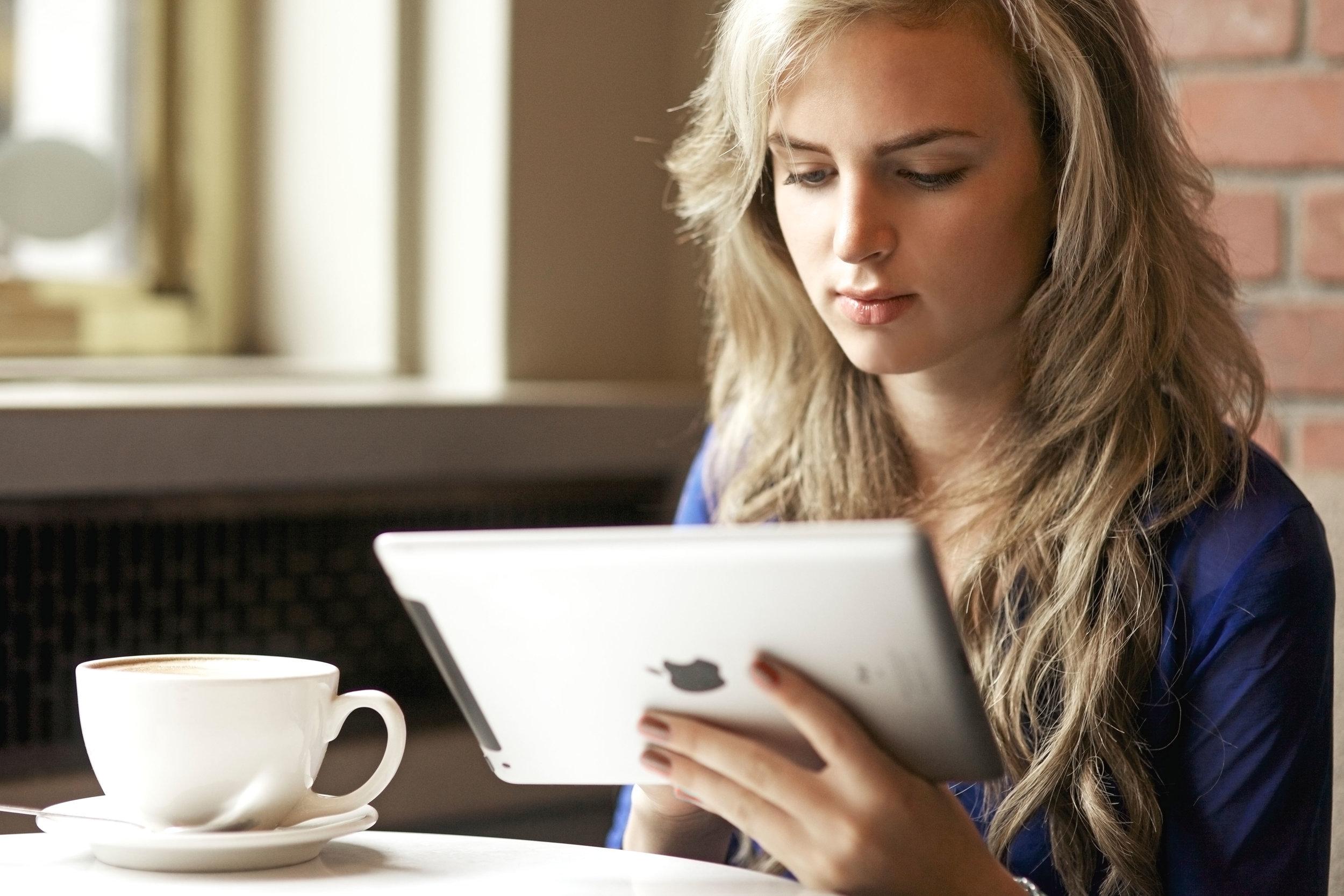 Woman on an iPad