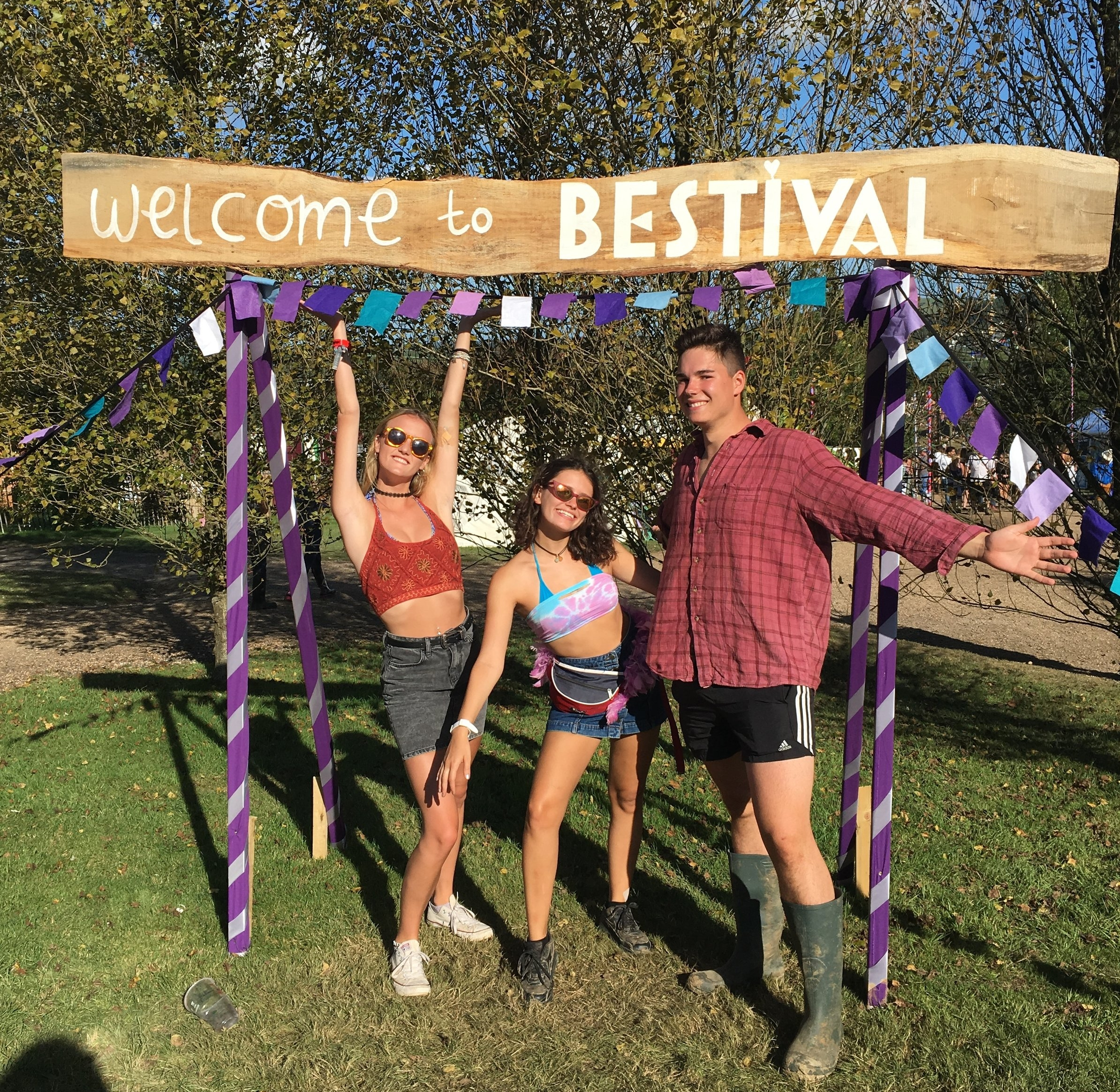 Holly Mackay (left)with friends at Bestival