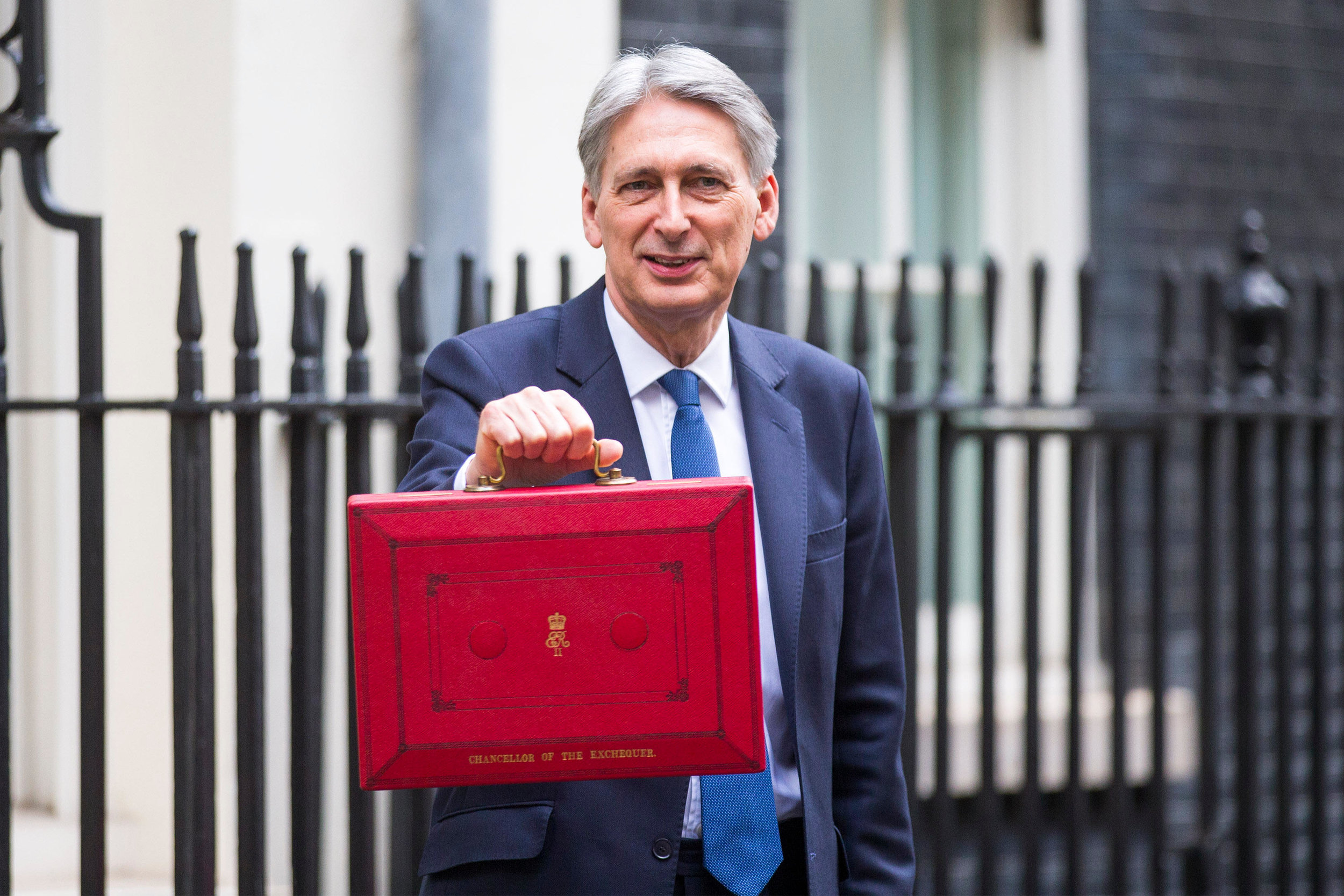 Philip Hammond, Chancellor of the Exchequer, leaves number 11 Downing Street on Budget day 2017.