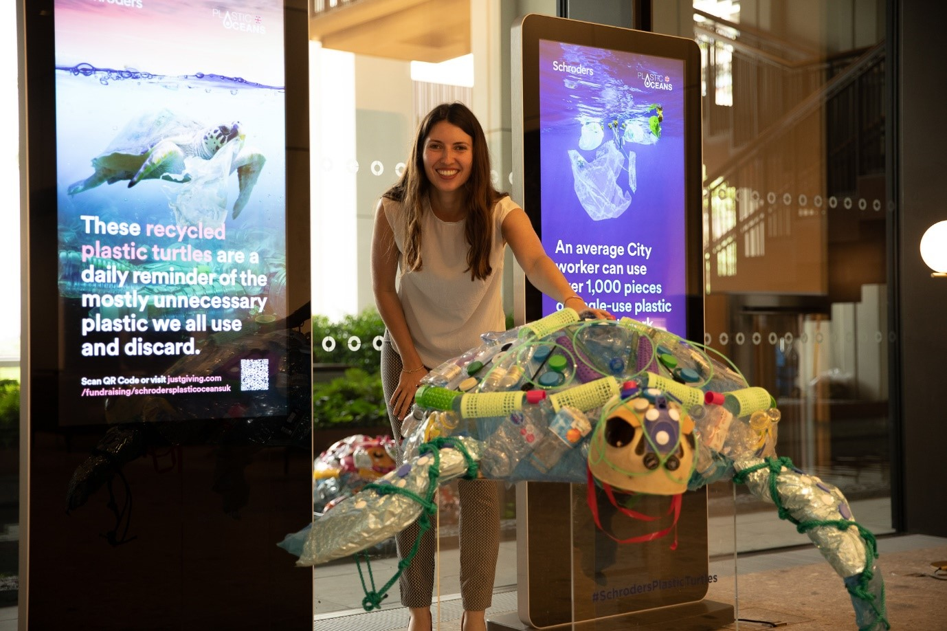 Louisa Minter-Kemp with a plastic turtle