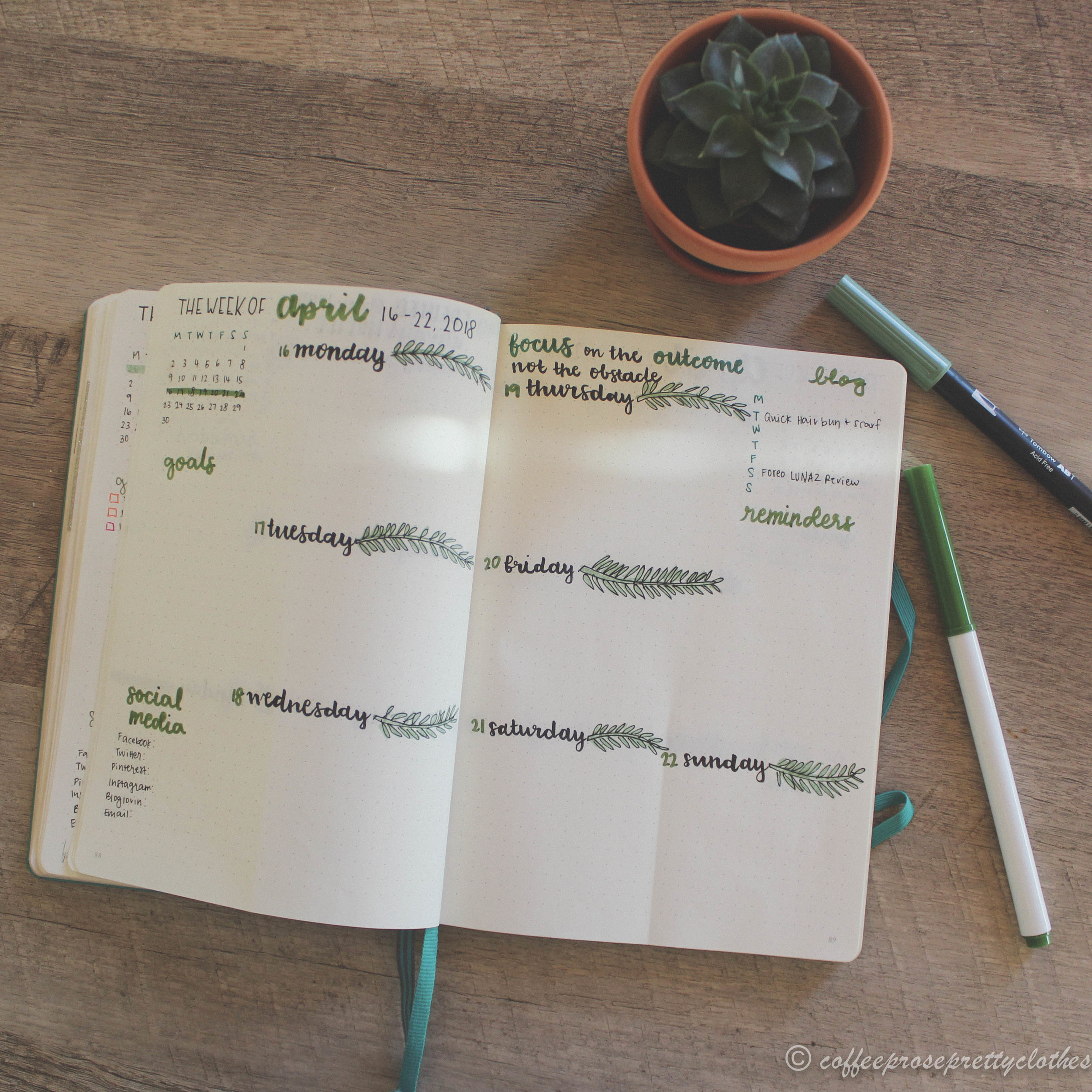 April Bullet Journal weekly spread with tropical leaf theme