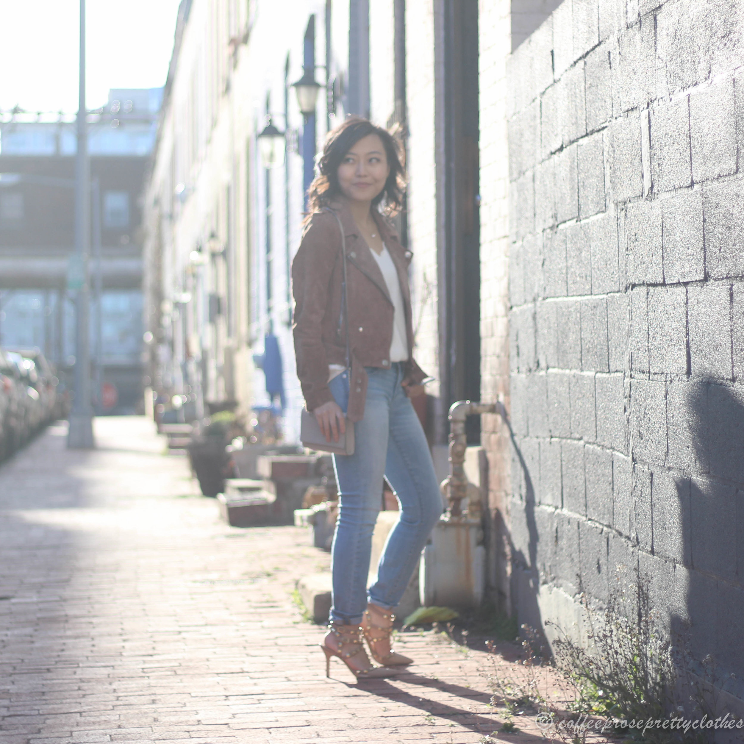 J.Crew Factory Scalloped Cami, Blank NYC Suede Moto Jacket, Sole Society Tiia pumps